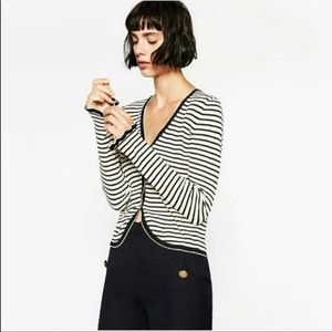 Zara Sweaters - ZARA   Black & White Striped Knit Cardigan Sz. M
